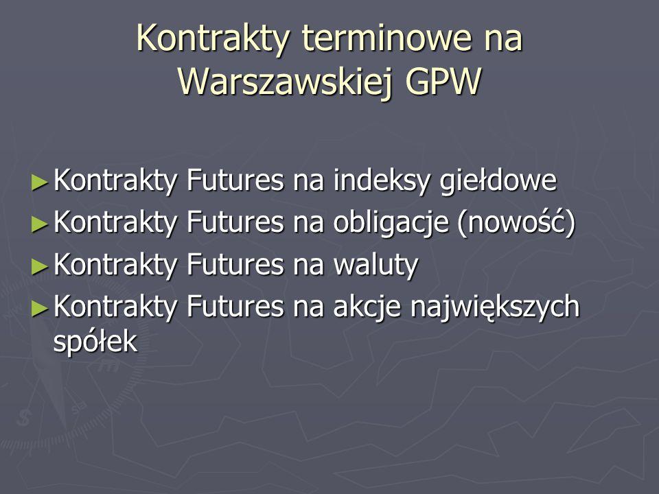 Kontrakty terminowe na Warszawskiej GPW Kontrakty Futures na indeksy giełdowe Kontrakty Futures na indeksy giełdowe Kontrakty Futures na obligacje (no