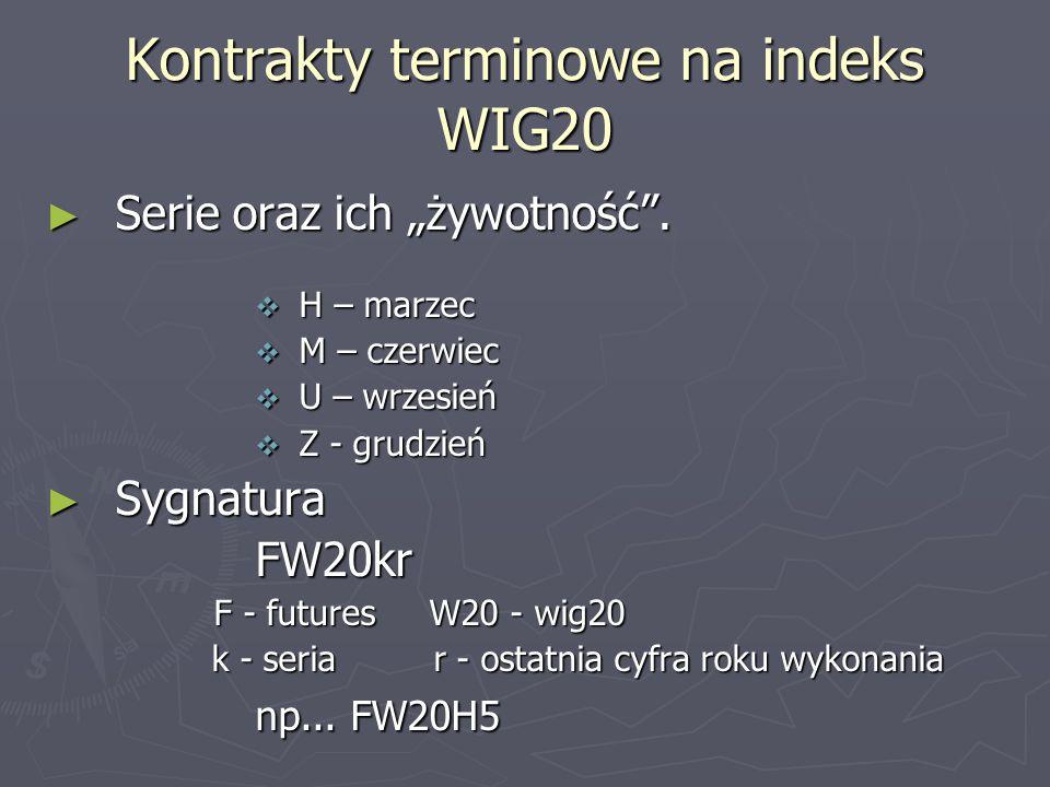 Kontrakty terminowe na indeks WIG20 Serie oraz ich żywotność. Serie oraz ich żywotność. H – marzec H – marzec M – czerwiec M – czerwiec U – wrzesień U