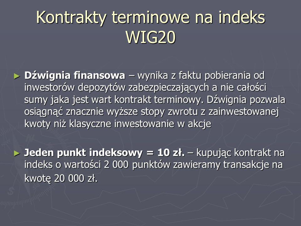 Kontrakty terminowe na indeks WIG20 Dźwignia finansowa – wynika z faktu pobierania od inwestorów depozytów zabezpieczających a nie całości sumy jaka j