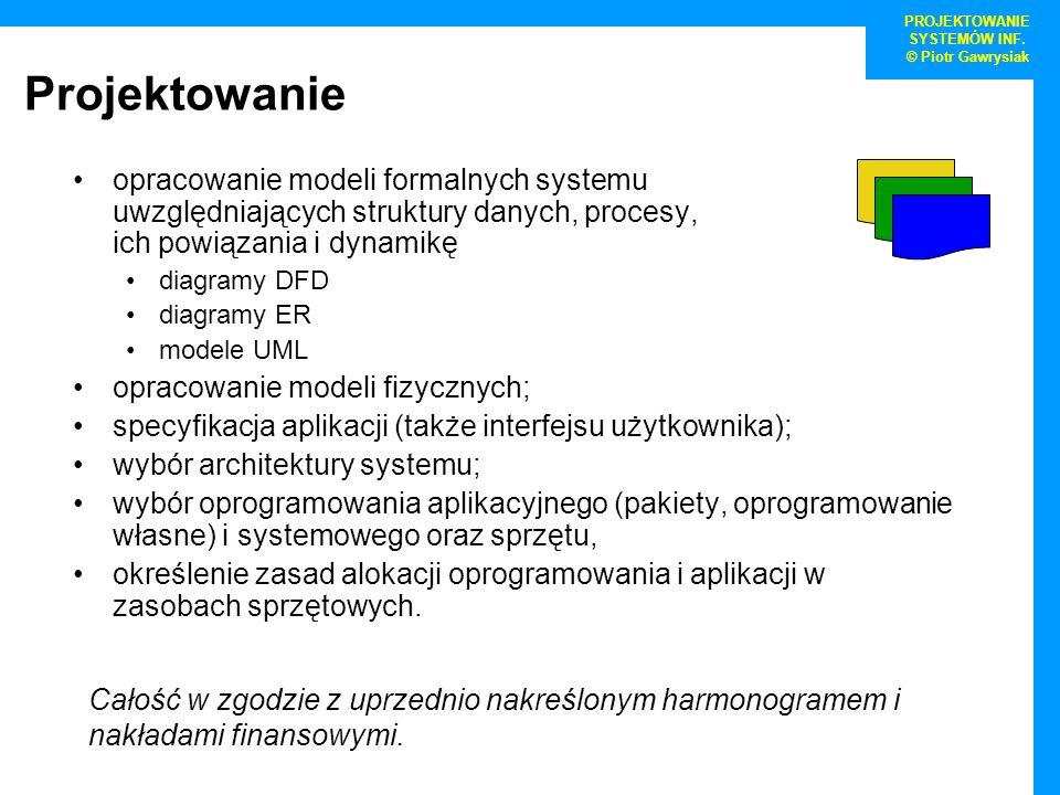 Projektowanie opracowanie modeli formalnych systemu uwzględniających struktury danych, procesy, ich powiązania i dynamikę diagramy DFD diagramy ER mod