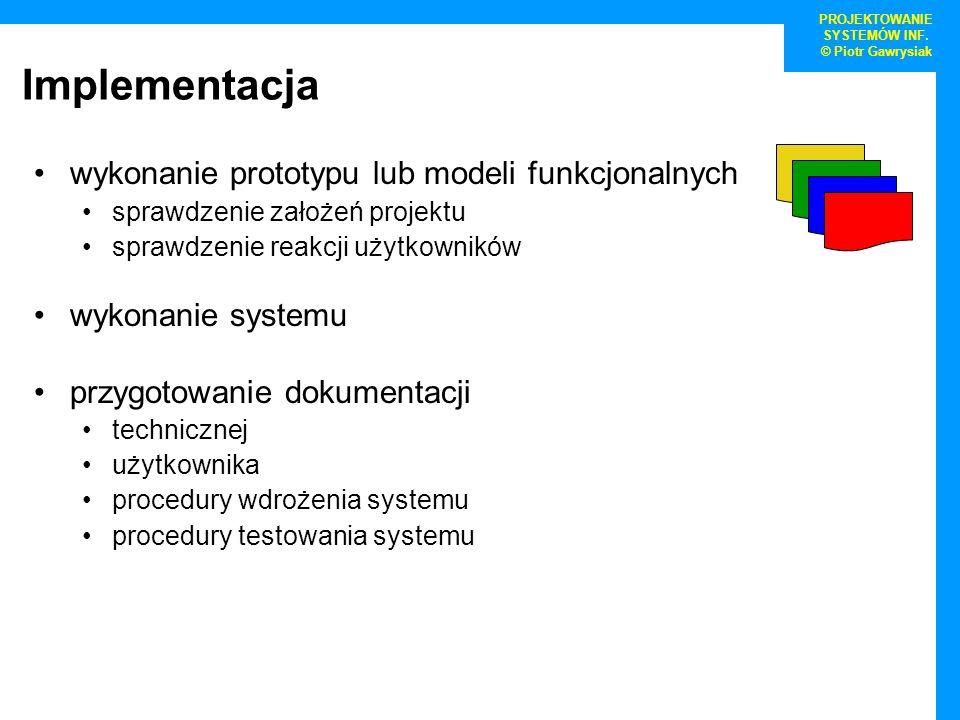Implementacja wykonanie prototypu lub modeli funkcjonalnych sprawdzenie założeń projektu sprawdzenie reakcji użytkowników wykonanie systemu przygotowa
