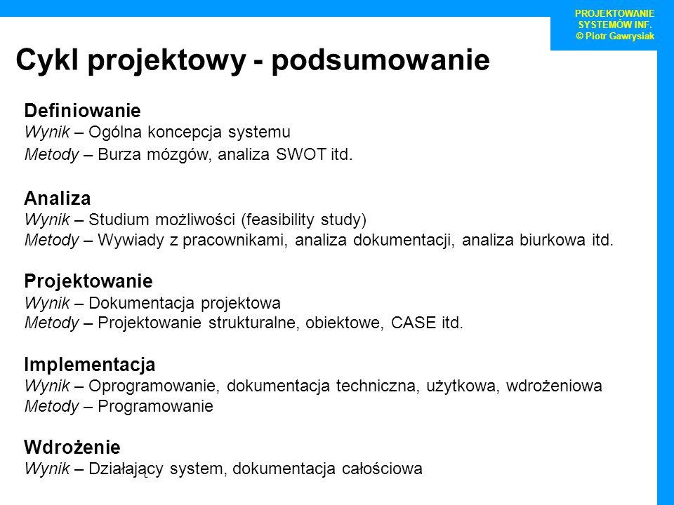 Cykl projektowy - podsumowanie PROJEKTOWANIE SYSTEMÓW INF. © Piotr Gawrysiak Definiowanie Wynik – Ogólna koncepcja systemu Metody – Burza mózgów, anal