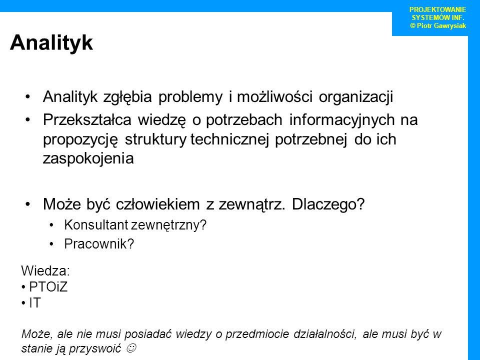 PROJEKTOWANIE SYSTEMÓW INF. © Piotr Gawrysiak Analityk Analityk zgłębia problemy i możliwości organizacji Przekształca wiedzę o potrzebach informacyjn