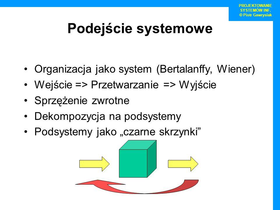 PROJEKTOWANIE SYSTEMÓW INF. © Piotr Gawrysiak Podejście systemowe Organizacja jako system (Bertalanffy, Wiener) Wejście => Przetwarzanie => Wyjście Sp