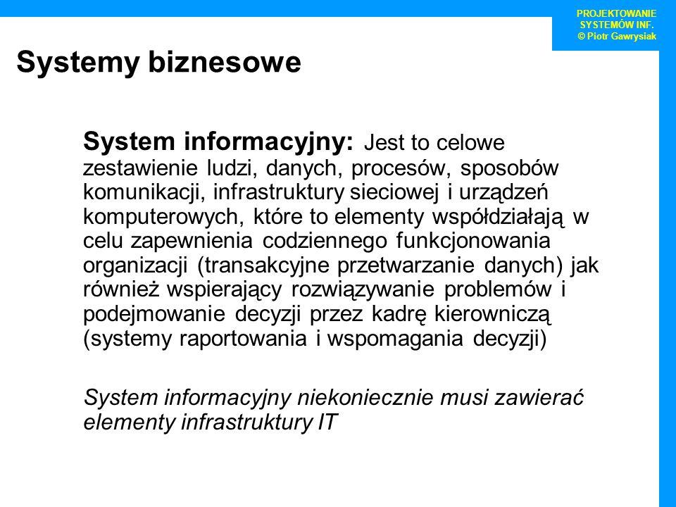 Systemy biznesowe System informacyjny: Jest to celowe zestawienie ludzi, danych, procesów, sposobów komunikacji, infrastruktury sieciowej i urządzeń k