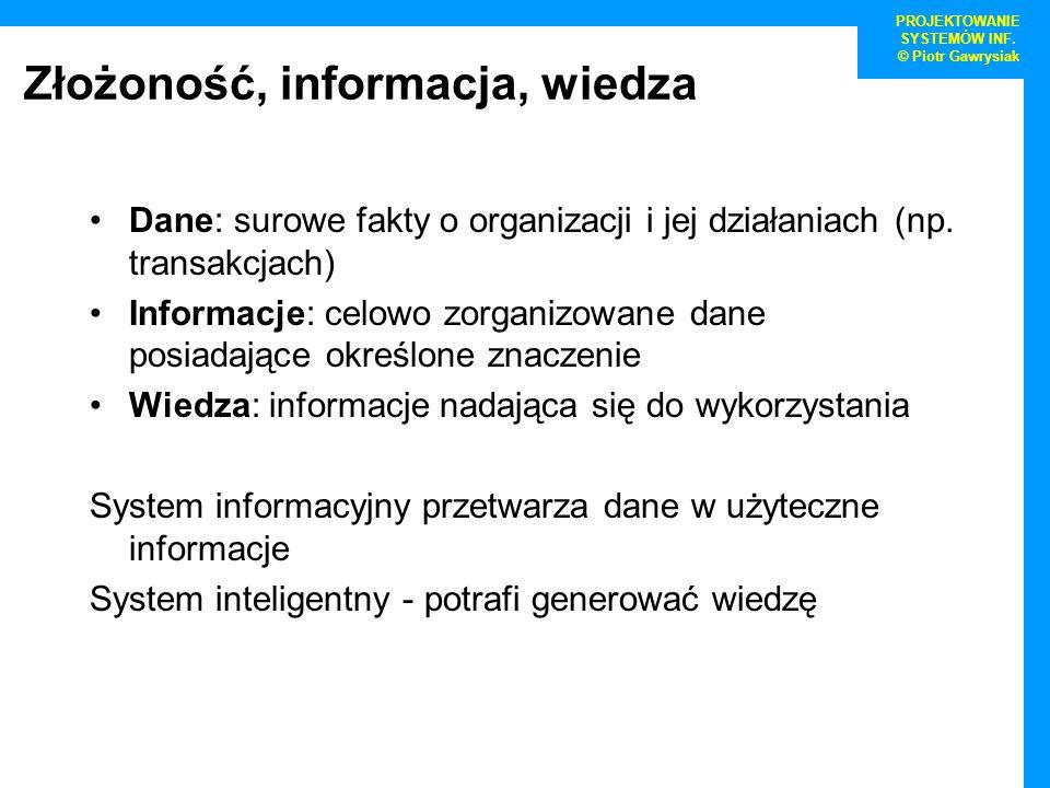 Złożoność, informacja, wiedza Dane: surowe fakty o organizacji i jej działaniach (np. transakcjach) Informacje: celowo zorganizowane dane posiadające