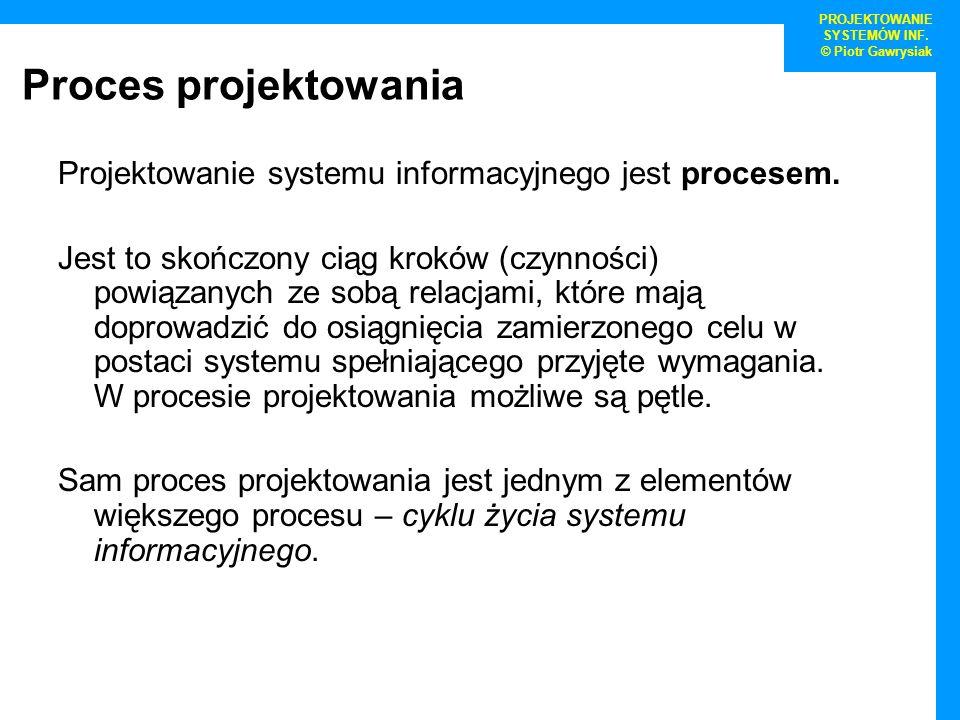 Proces projektowania Projektowanie systemu informacyjnego jest procesem. Jest to skończony ciąg kroków (czynności) powiązanych ze sobą relacjami, któr