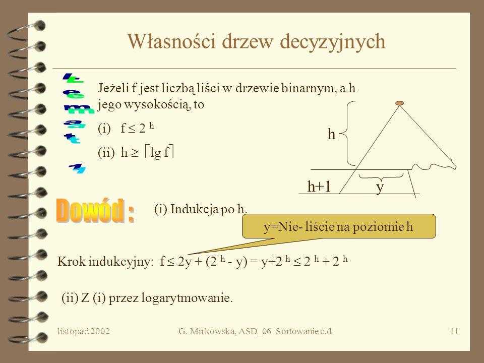 listopad 2002G. Mirkowska, ASD_06 Sortowanie c.d.10 Przykład Drzewo decyzyjne dla algorytmu Insertion_sort zastosowanego do 3 elementowego ciągu e1,e2