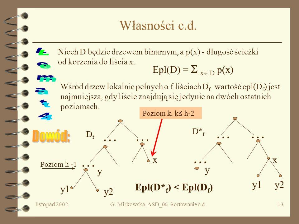 listopad 2002G. Mirkowska, ASD_06 Sortowanie c.d.12 Oszacowanie w najgorszym przypadku Każde drzewo decyzyjne dla algorytmu sortującego ciąg n- elemen