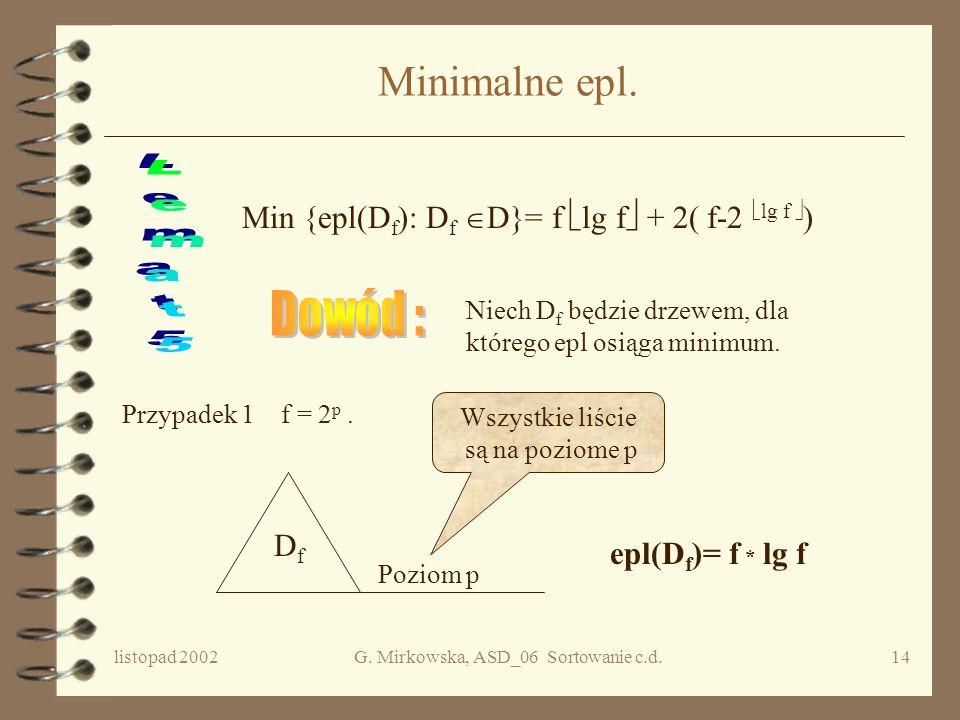 listopad 2002G. Mirkowska, ASD_06 Sortowanie c.d.13 Własności c.d. Niech D będzie drzewem binarnym, a p(x) - długość ścieżki od korzenia do liścia x.