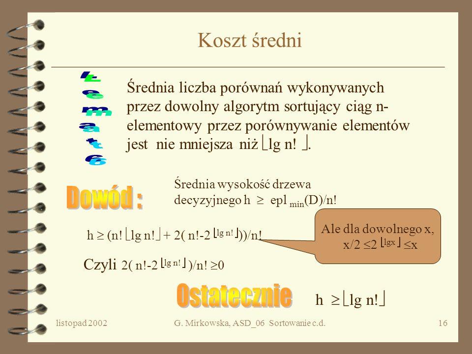 listopad 2002G. Mirkowska, ASD_06 Sortowanie c.d.15 Minimalne epl c.d. Przypadek 2 2 p-1 < f < 2 p. h z Z lematu 1 h lg f Z lematu 3 wszystkie liście