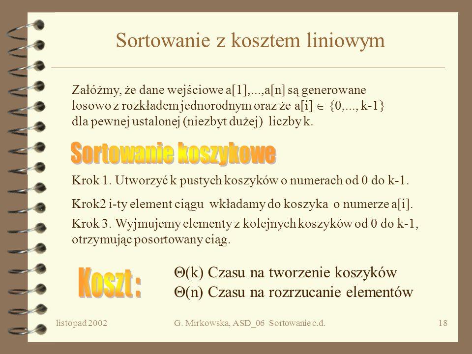 listopad 2002G. Mirkowska, ASD_06 Sortowanie c.d.17 Wniosek Dolnym ograniczeniem na liczbę porównań wykonanych przez algorytm sortujący przez porównyw