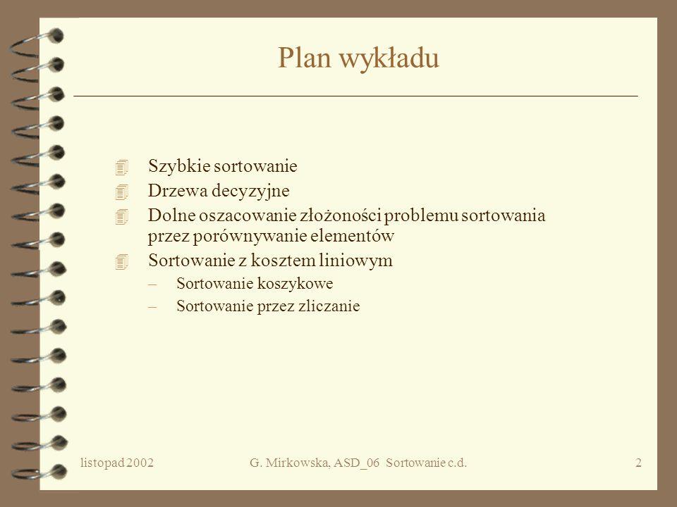 ALGORYTMY I STRUKTURY DANYCH WYKŁAD 06 c.d. Sortowanie Grażyna Mirkowska PJWSTK, semestr zimowy 2002