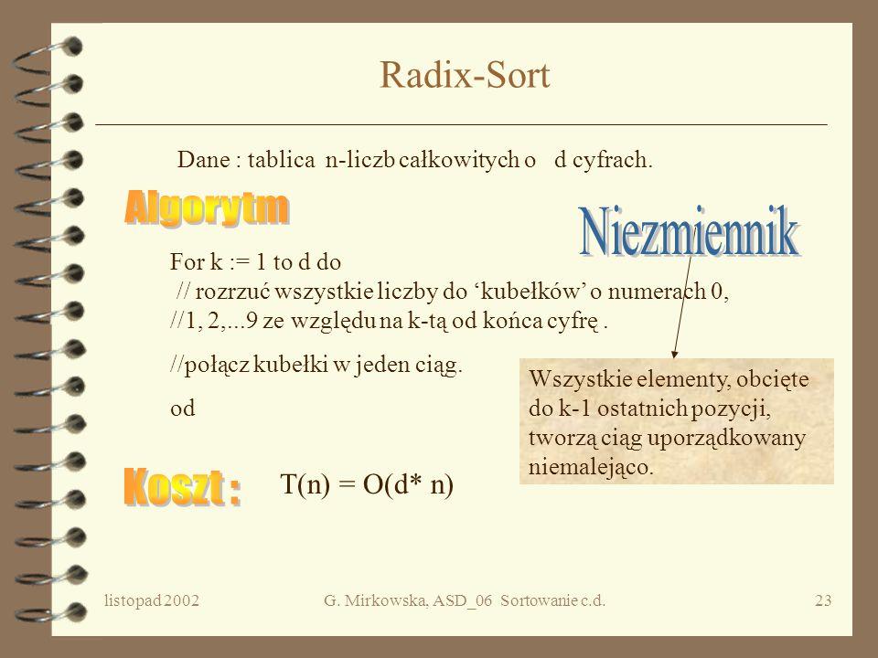 listopad 2002G. Mirkowska, ASD_06 Sortowanie c.d.22 Sortowanie pozycyjne Dany jest ciąg n-elementów do posortowania. Elementy tego ciągu nie są po pro