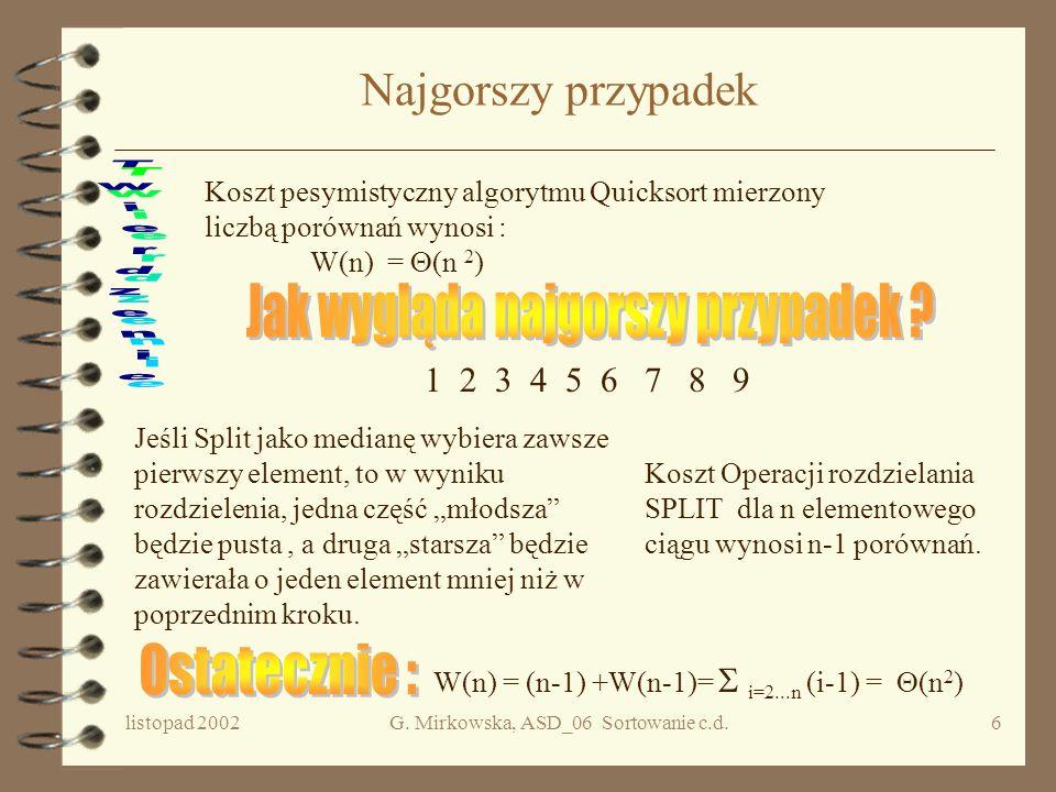 listopad 2002G. Mirkowska, ASD_06 Sortowanie c.d.5 Sortowanie szybkie - algorytm Dane: n>0, ciąg e[1],..., e[n]. procedure QS(lewy,prawy) {if (prawy >
