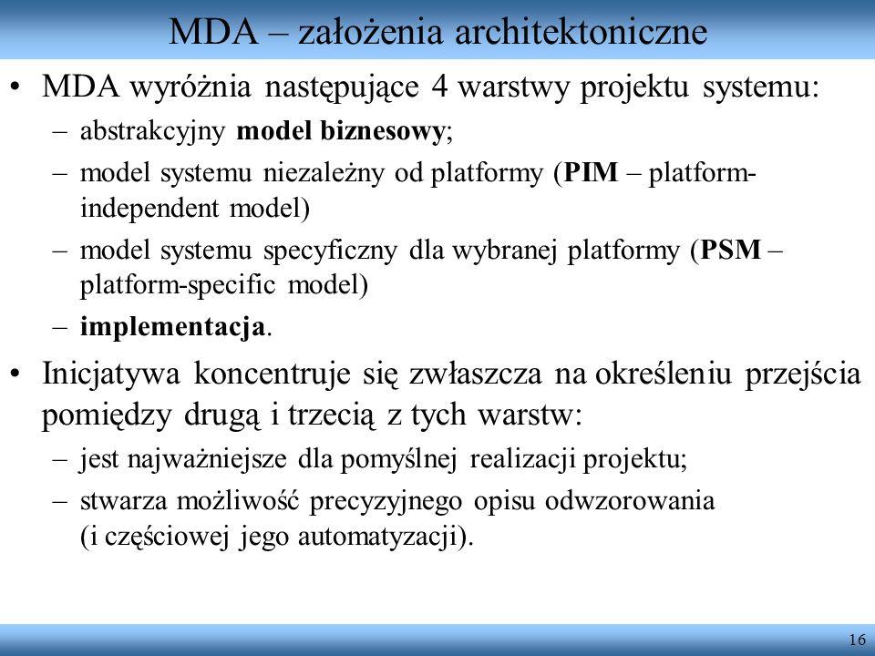 16 MDA – założenia architektoniczne MDA wyróżnia następujące 4 warstwy projektu systemu: –abstrakcyjny model biznesowy; –model systemu niezależny od p