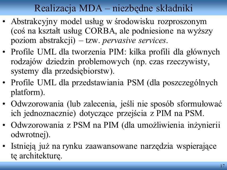17 Realizacja MDA – niezbędne składniki Abstrakcyjny model usług w środowisku rozproszonym (coś na kształt usług CORBA, ale podniesione na wyższy pozi