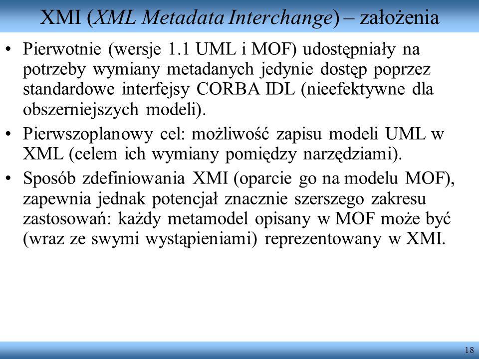 18 XMI (XML Metadata Interchange) – założenia Pierwotnie (wersje 1.1 UML i MOF) udostępniały na potrzeby wymiany metadanych jedynie dostęp poprzez sta