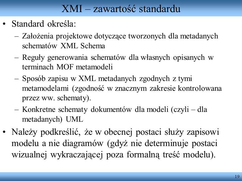 19 XMI – zawartość standardu Standard określa: –Założenia projektowe dotyczące tworzonych dla metadanych schematów XML Schema –Reguły generowania sche