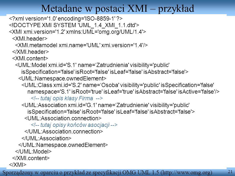 21 Metadane w postaci XMI – przykład <UML:Model xmi.id='S.1' name=Zatrudnienia' visibility='public' isSpecification='false' isRoot='false' isLeaf='fal
