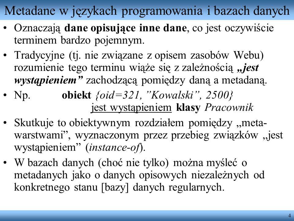 4 Metadane w językach programowania i bazach danych Oznaczają dane opisujące inne dane, co jest oczywiście terminem bardzo pojemnym. Tradycyjne (tj. n