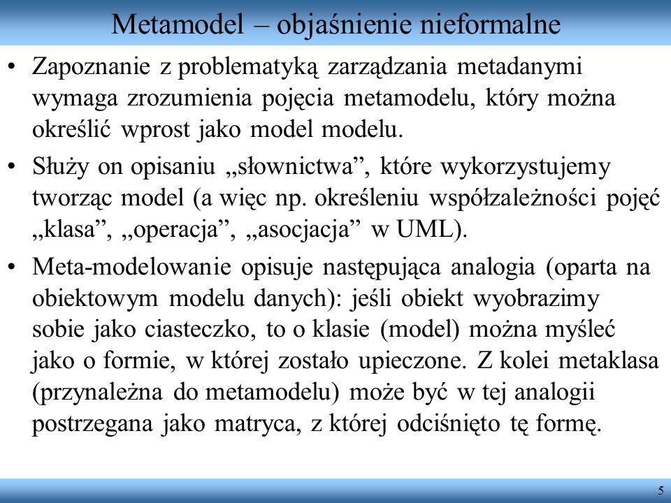 5 Metamodel – objaśnienie nieformalne Zapoznanie z problematyką zarządzania metadanymi wymaga zrozumienia pojęcia metamodelu, który można określić wpr
