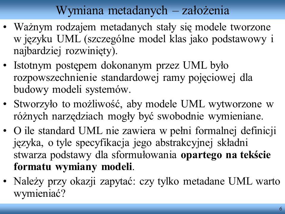 6 Wymiana metadanych – założenia Ważnym rodzajem metadanych stały się modele tworzone w języku UML (szczególne model klas jako podstawowy i najbardzie