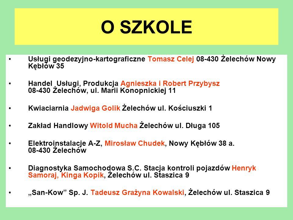 O SZKOLE Usługi geodezyjno-kartograficzne Tomasz Celej 08-430 Żelechów Nowy Kębłów 35 Handel Usługi, Produkcja Agnieszka i Robert Przybysz 08-430 Żele
