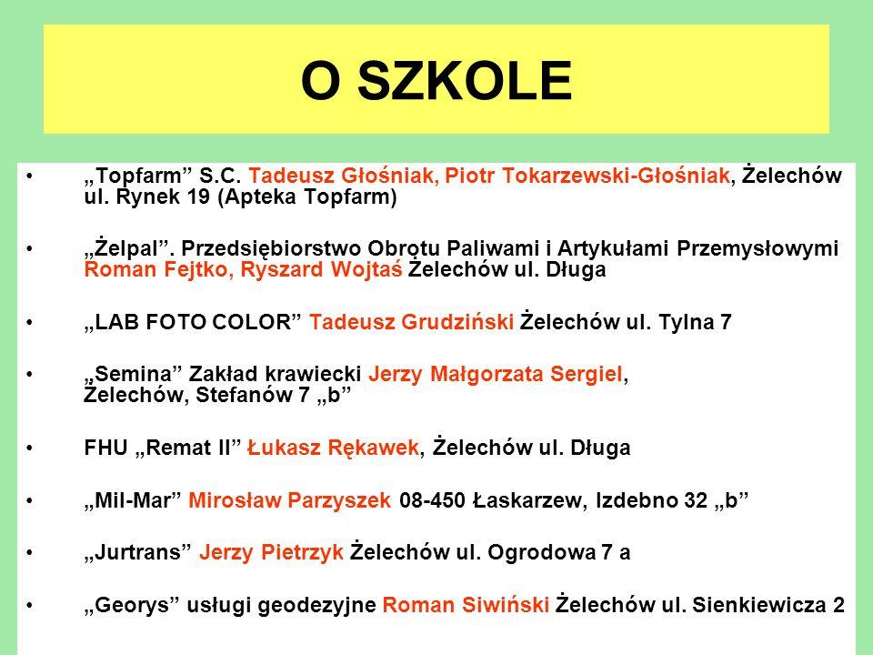 O SZKOLE Topfarm S.C. Tadeusz Głośniak, Piotr Tokarzewski-Głośniak, Żelechów ul. Rynek 19 (Apteka Topfarm) Żelpal. Przedsiębiorstwo Obrotu Paliwami i