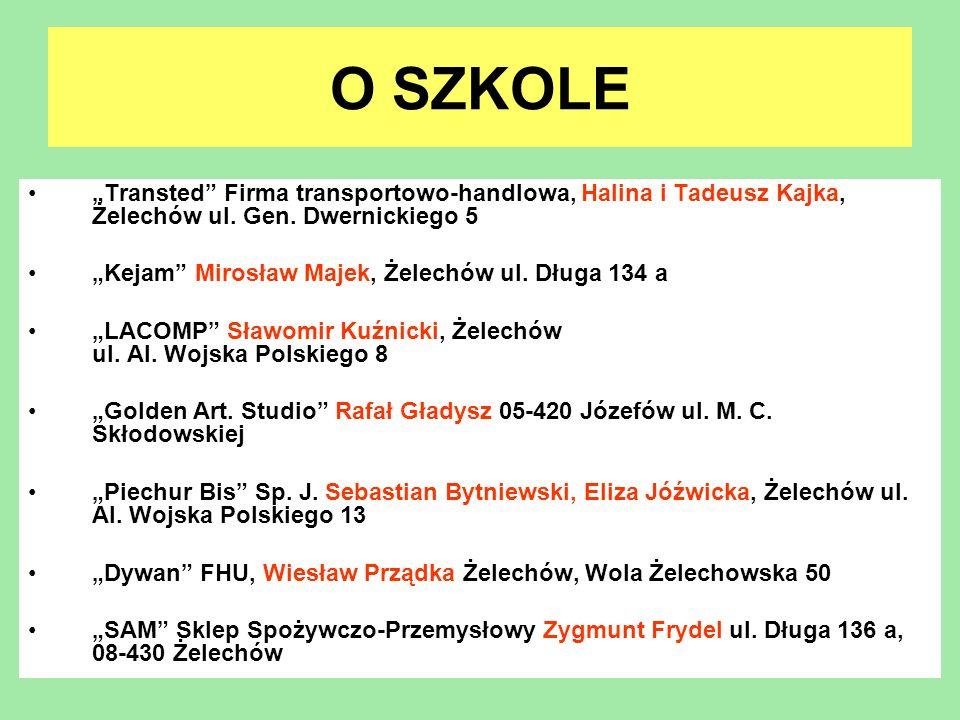 O SZKOLE Transted Firma transportowo-handlowa, Halina i Tadeusz Kajka, Żelechów ul. Gen. Dwernickiego 5 Kejam Mirosław Majek, Żelechów ul. Długa 134 a