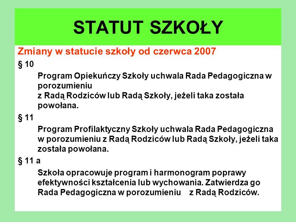 Zmiany w statucie szkoły od czerwca 2007 § 10 Program Opiekuńczy Szkoły uchwala Rada Pedagogiczna w porozumieniu z Radą Rodziców lub Radą Szkoły, jeże