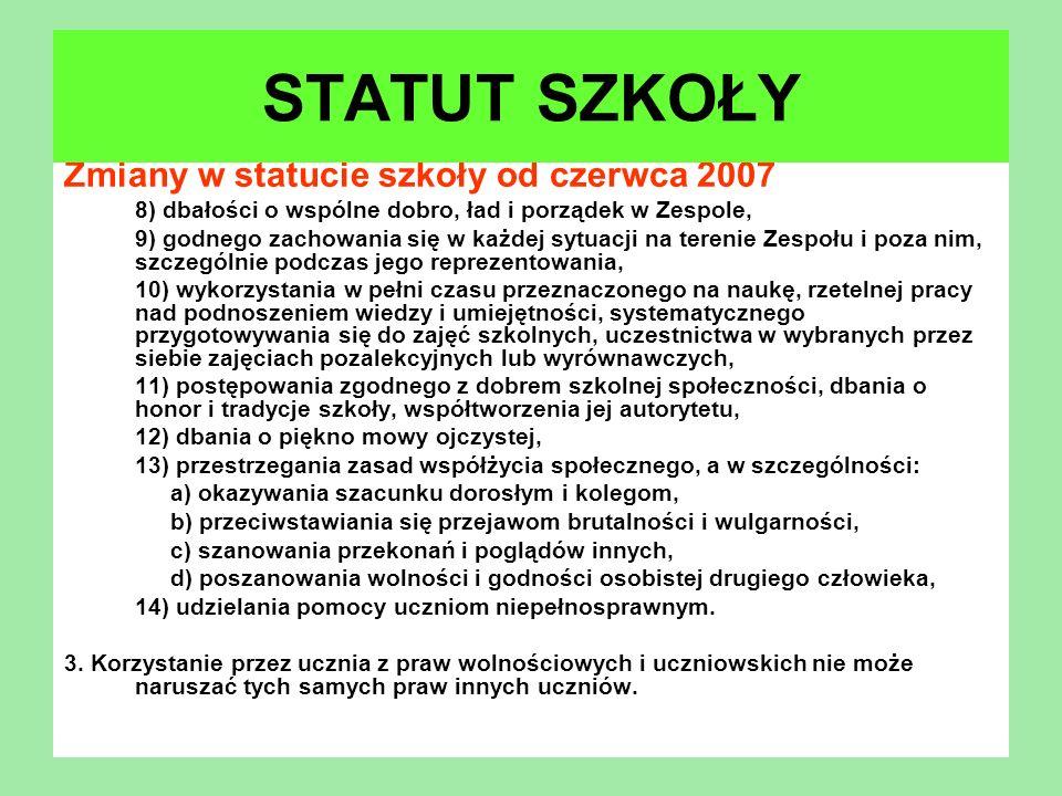 Zmiany w statucie szkoły od czerwca 2007 8) dbałości o wspólne dobro, ład i porządek w Zespole, 9) godnego zachowania się w każdej sytuacji na terenie