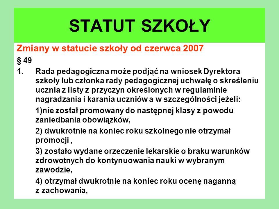 Zmiany w statucie szkoły od czerwca 2007 § 49 1.Rada pedagogiczna może podjąć na wniosek Dyrektora szkoły lub członka rady pedagogicznej uchwałę o skr