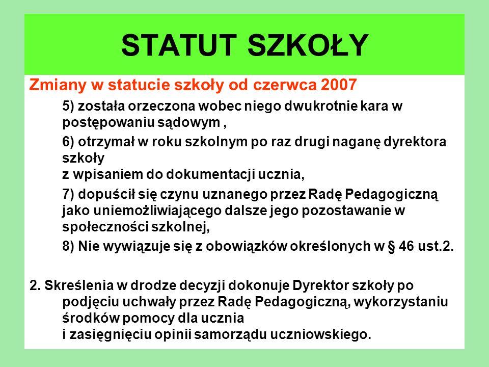 Zmiany w statucie szkoły od czerwca 2007 5) została orzeczona wobec niego dwukrotnie kara w postępowaniu sądowym, 6) otrzymał w roku szkolnym po raz d