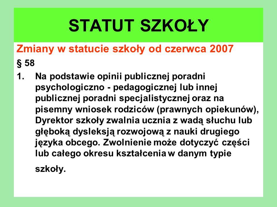 Zmiany w statucie szkoły od czerwca 2007 § 58 1.Na podstawie opinii publicznej poradni psychologiczno - pedagogicznej lub innej publicznej poradni spe