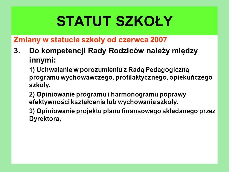 Zmiany w statucie szkoły od czerwca 2007 3.Do kompetencji Rady Rodziców należy między innymi: 1) Uchwalanie w porozumieniu z Radą Pedagogiczną program