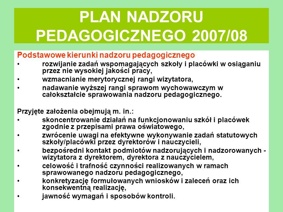 PLAN NADZORU PEDAGOGICZNEGO 2007/08 Podstawowe kierunki nadzoru pedagogicznego rozwijanie zadań wspomagających szkoły i placówki w osiąganiu przez nie