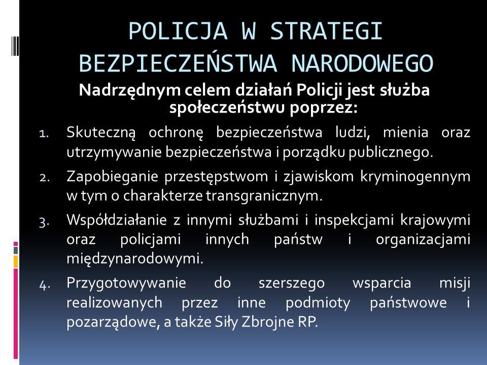 POLICJA W STRATEGI BEZPIECZEŃSTWA NARODOWEGO Nadrzędnym celem działań Policji jest służba społeczeństwu poprzez: 1. Skuteczną ochronę bezpieczeństwa l
