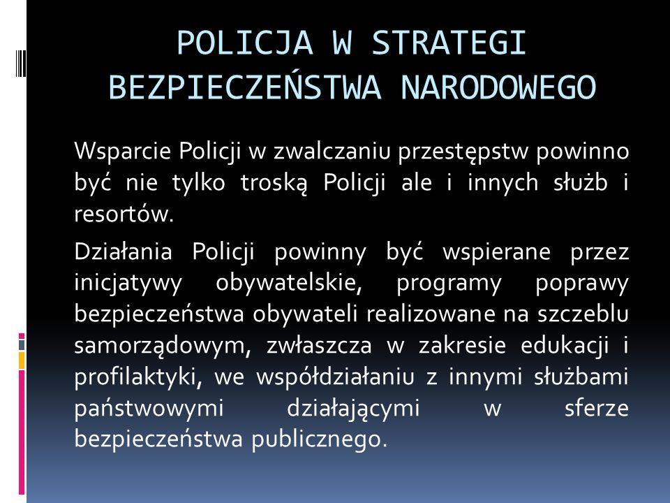 POLICJA W STRATEGI BEZPIECZEŃSTWA NARODOWEGO Wsparcie Policji w zwalczaniu przestępstw powinno być nie tylko troską Policji ale i innych służb i resor