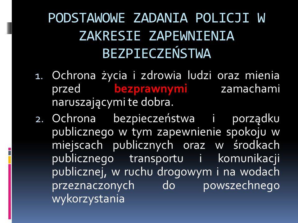 PODSTAWOWE ZADANIA POLICJI W ZAKRESIE ZAPEWNIENIA BEZPIECZEŃSTWA 3.