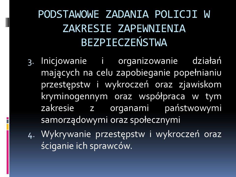 PODSTAWOWE ZADANIA POLICJI W ZAKRESIE ZAPEWNIENIA BEZPIECZEŃSTWA 3. Inicjowanie i organizowanie działań mających na celu zapobieganie popełnianiu prze