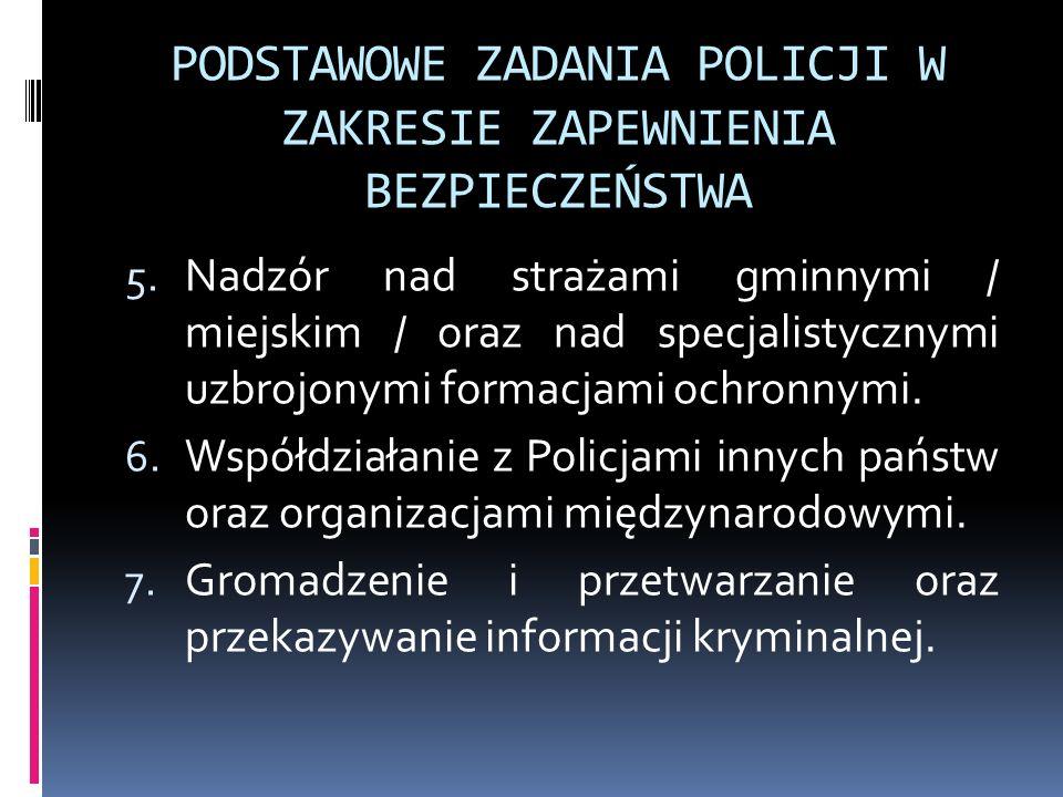 PODSTAWOWE ZADANIA POLICJI W ZAKRESIE ZAPEWNIENIA BEZPIECZEŃSTWA 5. Nadzór nad strażami gminnymi / miejskim / oraz nad specjalistycznymi uzbrojonymi f