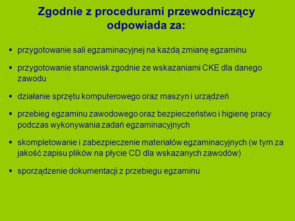 Zgodnie z procedurami przewodniczący odpowiada za: przygotowanie sali egzaminacyjnej na każdą zmianę egzaminu przygotowanie stanowisk zgodnie ze wskaz