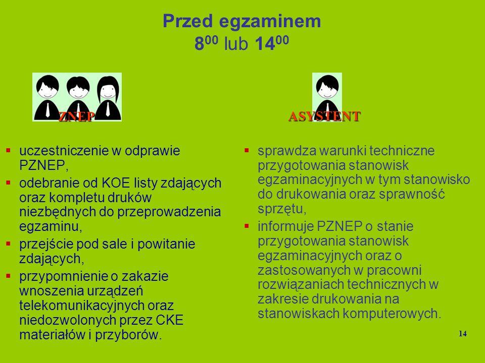 Przed egzaminem 8 00 lub 14 00 uczestniczenie w odprawie PZNEP, odebranie od KOE listy zdających oraz kompletu druków niezbędnych do przeprowadzenia e