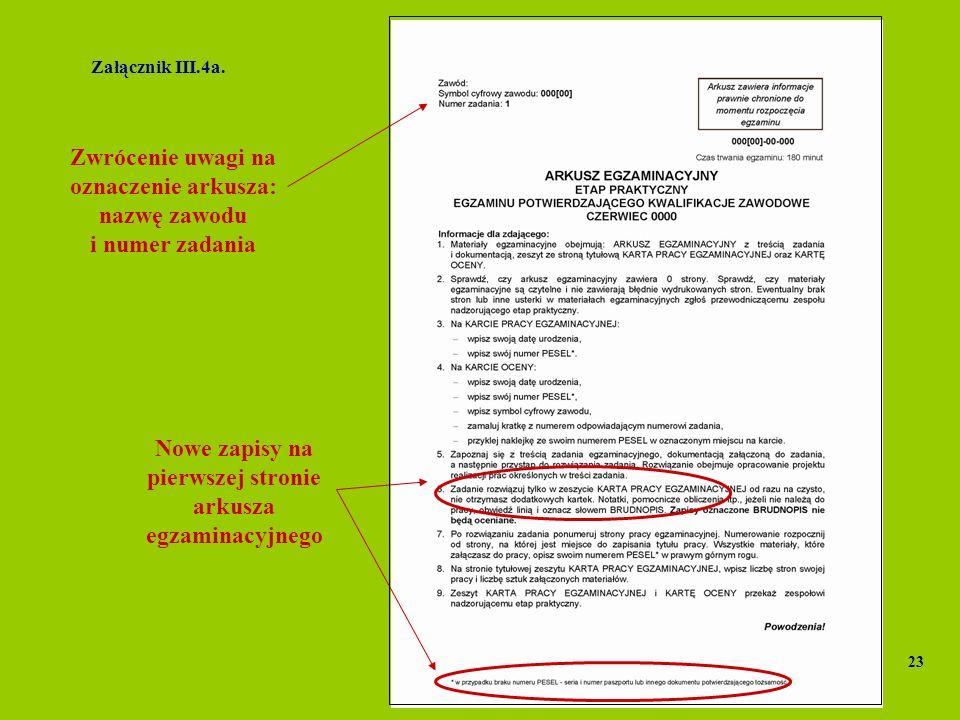 Załącznik III.4a. Nowe zapisy na pierwszej stronie arkusza egzaminacyjnego 23 Zwrócenie uwagi na oznaczenie arkusza: nazwę zawodu i numer zadania