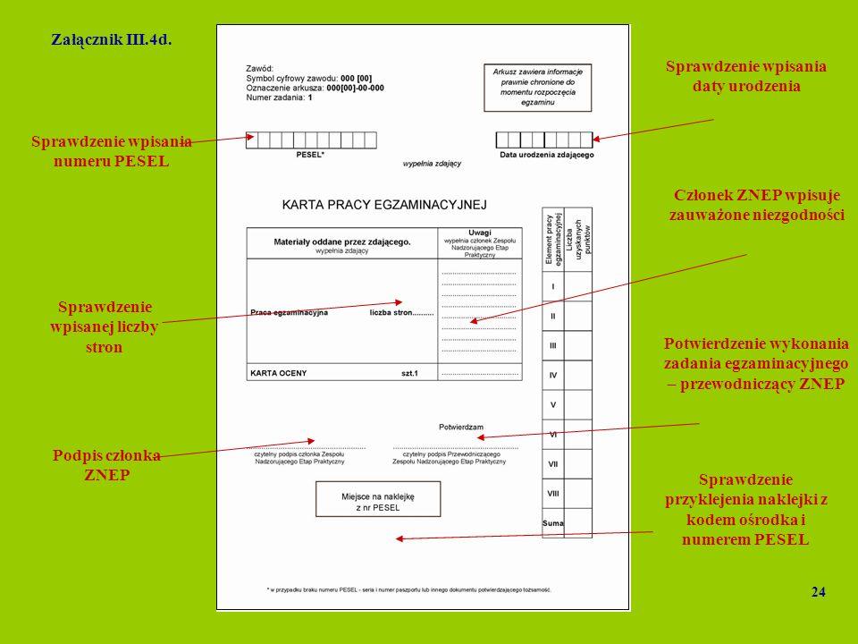 Potwierdzenie wykonania zadania egzaminacyjnego – przewodniczący ZNEP Podpis członka ZNEP Sprawdzenie wpisania daty urodzenia Sprawdzenie przyklejenia