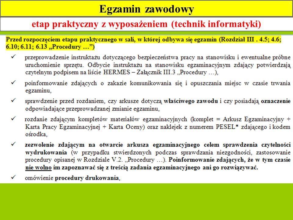 etap praktyczny z wyposażeniem (technik informatyki) Egzamin zawodowy