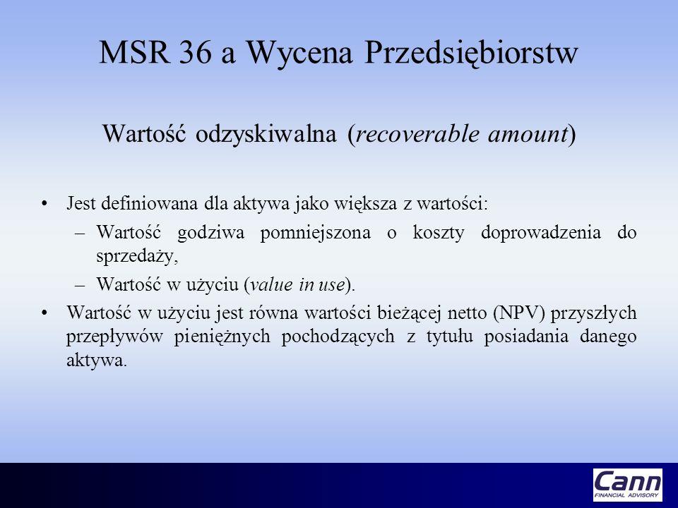 MSR 36 a Wycena Przedsiębiorstw Wartość odzyskiwalna (recoverable amount) Jest definiowana dla aktywa jako większa z wartości: –Wartość godziwa pomnie