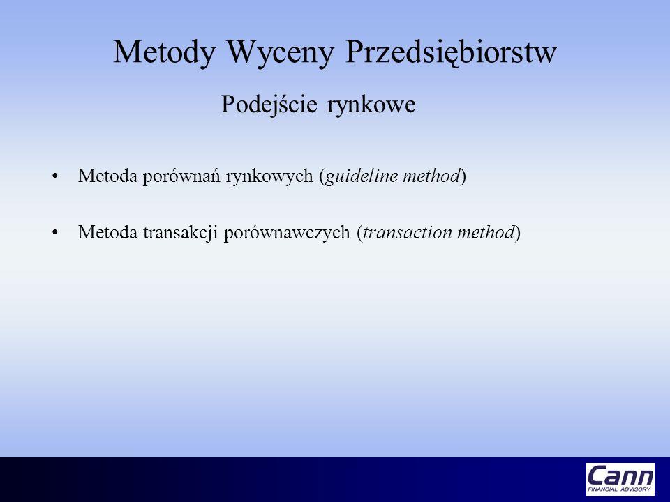 Metody Wyceny Przedsiębiorstw Podejście rynkowe Metoda porównań rynkowych (guideline method) Metoda transakcji porównawczych (transaction method)