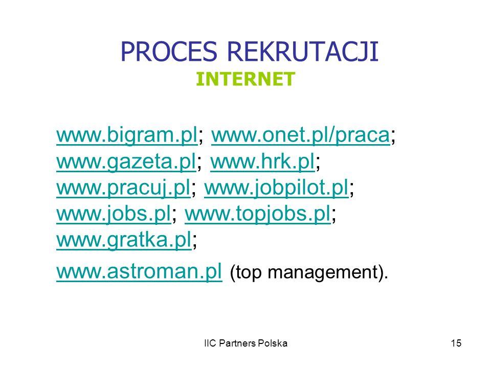 IIC Partners Polska15 PROCES REKRUTACJI INTERNET www.bigram.plwww.bigram.pl; www.onet.pl/praca; www.gazeta.pl; www.hrk.pl; www.pracuj.pl; www.jobpilot